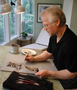Nature artist Terry Isaac in his studio